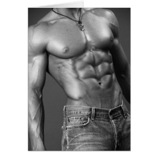 Shirtless Male In Jeans Notecard Note Card