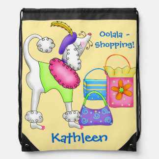 Shopping Poodle Whimsy Dog Art Yellow Backpacks