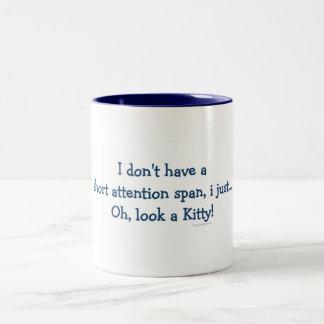 Short Attention Span Kitty (blue) Two-Tone Mug