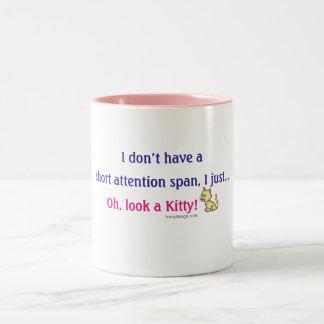 Short Attention Span Kitty Humor Two-Tone Mug