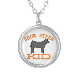 Show Steer Kid Round Pendant Necklace