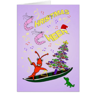 Shrimp and Crawfish Cajun Christmas Cheer Greeting Card