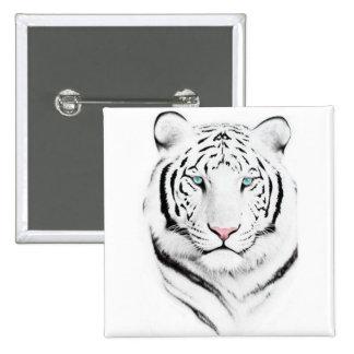 Siberian White Tiger 15 Cm Square Badge
