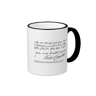 Signature Oliver Cromwell,from handwritten Ringer Mug