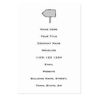 Signpost Arrow. Gray, Black and White. Pack Of Chubby Business Cards