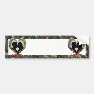 """Silhouette of a Couple Kissing """"I Miss You"""" Bumper Sticker"""