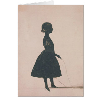 Silhouette of a girl with a skipping rope greeting card