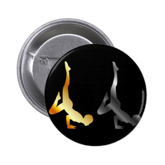 Silhouette of a person in advanced yoga pose 6 cm round badge