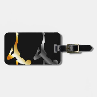 Silhouette of a person in advanced yoga pose bag tag