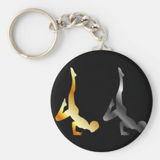 Silhouette of a person in advanced yoga pose basic round button key ring