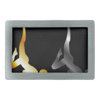 Silhouette of a person in advanced yoga pose belt buckles