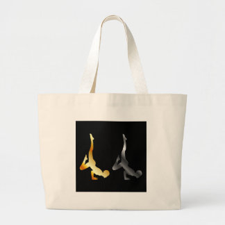 Silhouette of a person in advanced yoga pose jumbo tote bag