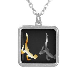 Silhouette of a person in advanced yoga pose square pendant necklace