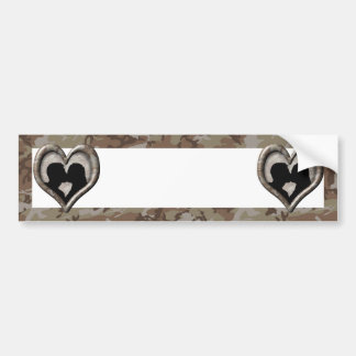 Silhouette of Couple Kissing (Camouflage Heart) Bumper Sticker