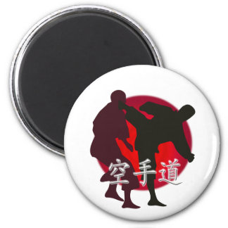 Silhouette of Karate fight, red circle background. 6 Cm Round Magnet