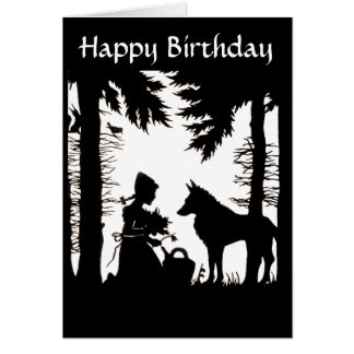 Silhouette Red Riding Hood Wolf Woods Birthday Greeting Card