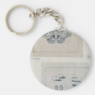 Silkworm moth and  larval stages of the silkworm basic round button key ring