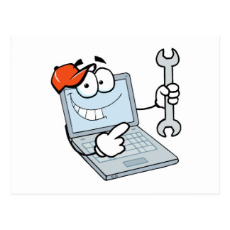 silly computer repair cartoon laptop with wrench postcard