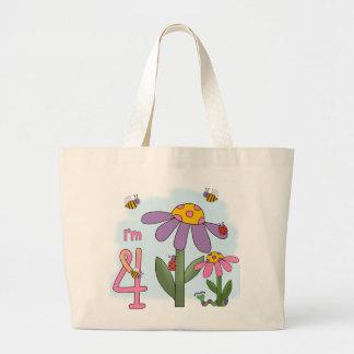 Silly Garden 4th Birthday Jumbo Tote Bag
