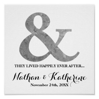 Silver Ampersand Happily Ever After Wedding Date Poster