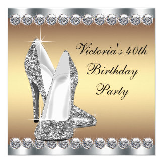 Silver and Gold Birthday Party 13 Cm X 13 Cm Square Invitation Card