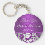 Silver and Purple Damask II Wedding Favour Basic Round Button Key Ring