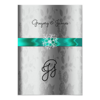 Silver and Turquoise, Crystal Snowflake Invitation