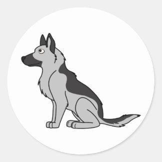 Silver & Black German Shepherd Round Sticker