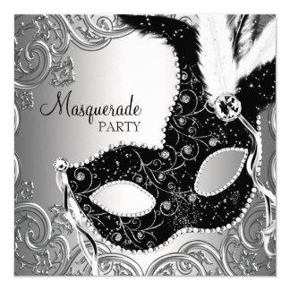 Silver Black Mask Masquerade Party 13 Cm X 13 Cm Square Invitation Card