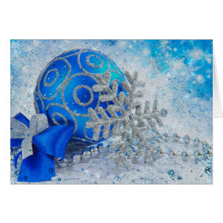 Silver blue ornaments greeting card