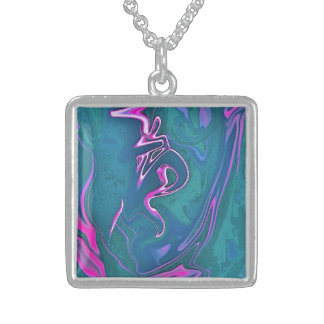 "Silver chain ""IN MOTION"" - LIMITED EDITION Square Pendant Necklace"