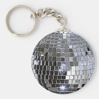Silver Disco Ball Basic Round Button Key Ring