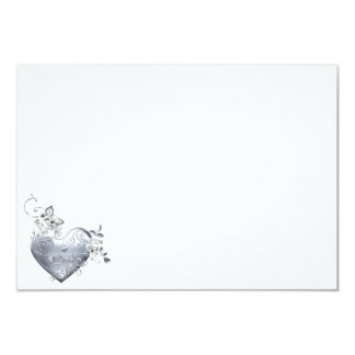 Silver Filigree Heart & White Roses 9 Cm X 13 Cm Invitation Card
