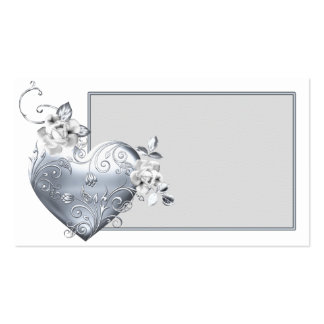 Silver Filigree Heart & White Roses Pack Of Standard Business Cards
