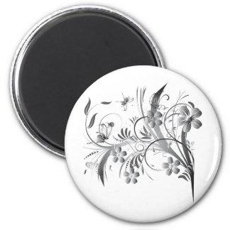 Silver Floral 6 Cm Round Magnet