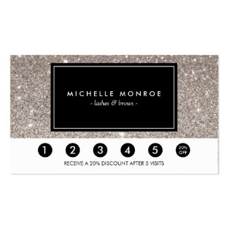 Silver Glitter Loyalty Punch Card Pack Of Standard Business Cards