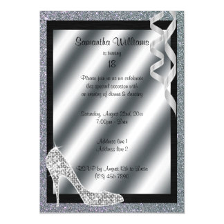 Silver Glittery Stiletto & Streamers 18th Birthday Magnetic Invitations