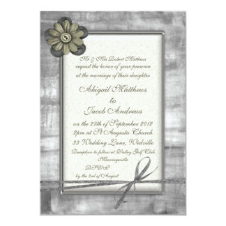 Silver & Gold Ribbon & Flower - Wedding Invitation