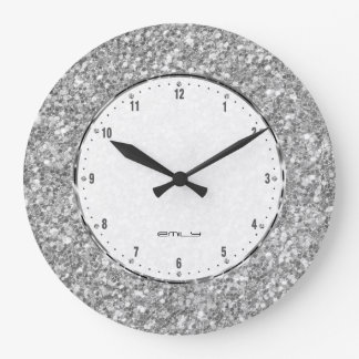 Silver Gray Glitter Texture Print Clocks