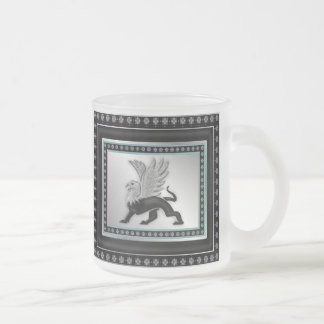 Silver Griffin Frosted Glass Mug