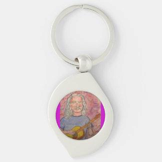 silver haired folk rocker dude Silver-Colored swirl key ring