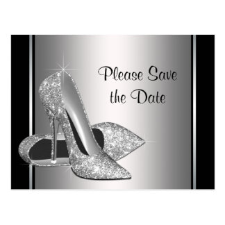 Silver High Heel Shoe Save The Date Postcard