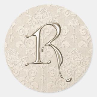 Silver Monogram Wedding Stickers - letter R