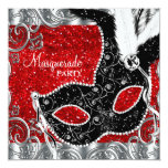 Silver Red and Black Mask Masquerade Party 13 Cm X 13 Cm Square Invitation Card