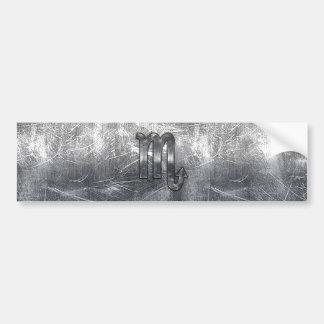 Silver Scorpio Zodiac Sign Distressed Metal Style Bumper Sticker
