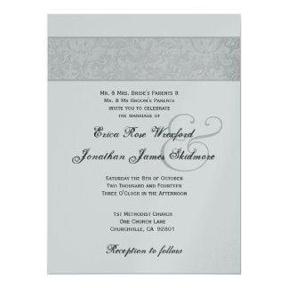Silver Textured Damask and Silver Metallic 17 Cm X 22 Cm Invitation Card