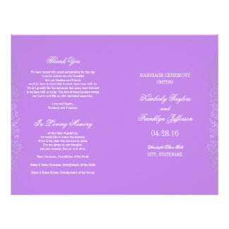 Silver Vintage Floral Purple Wedding Programs 21.5 Cm X 28 Cm Flyer