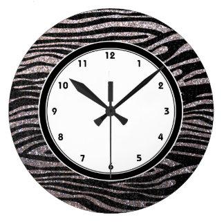Silver zebra stripes (faux glitter bling) clock