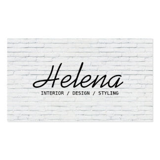 Simple black script modern white brick wall plain pack of standard business cards