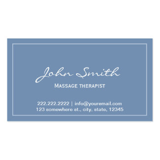 Simple Blue Massage Therapist Appointment Card Pack Of Standard Business Cards
